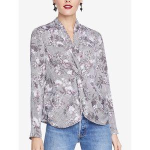 RACHEL ROY Womens Gray Twisted Printed Long Sleeve